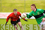 Stuart Lonergan of St Michaels Listowel tries to catch Sean Weir Mercy Mounthawk Secondry School as sean solos with the ball in the Colaisti Na Mumham 2008/09 Corn an Runai Final at Austin Stack Park, Tralee on Wednesday..