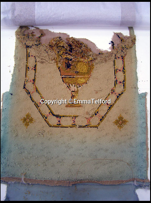 BNPS.co.uk (01202 558833)<br /> Pic: EmmaTelford/BNPS<br /> <br /> Back of one of the 300 year old chairs on arrival - Emma carefully recreated the design and colour from these fragments after the fronts had become to badly worn to make out the design.<br /> <br /> Seat of Power - The First Duke of Marlborough's campaign chairs, upon which he sat to plot the downfall of the French King Louis XIV, are returning to Blenheim Palace following an 18-month restoration.<br />