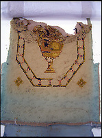 BNPS.co.uk (01202 558833)<br /> Pic: EmmaTelford/BNPS<br /> <br /> Back of one of the 300 year old chairs on arrival - Emma carefully recreated the design and colour from these fragments after the fronts had become to badly worn to make out the design.<br /> <br /> Seat of Power - The First Duke of Marlborough&rsquo;s campaign chairs, upon which he sat to plot the downfall of the French King Louis XIV, are returning to Blenheim Palace following an 18-month restoration.<br />