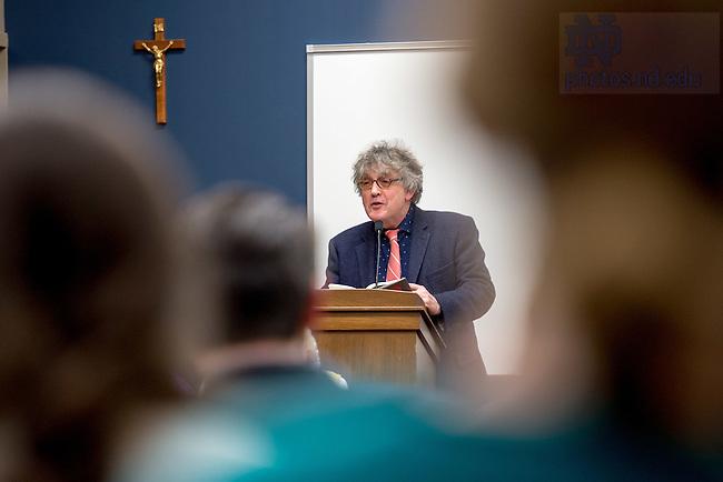 January 27, 2017; Irish poet Paul Muldoon reads at a Keough-Naughton Institute for Irish Studies event. (Photo by Matt Cashore/University of Notre Dame)