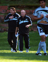 All Blacks forwards coach Steve Hansen and head coach Graham Henry. All Blacks Training Session at Rugby League Park, Newtown, Wellington. Thursday 17 September 2009. Photo: Dave Lintott/lintottphoto.co.nz