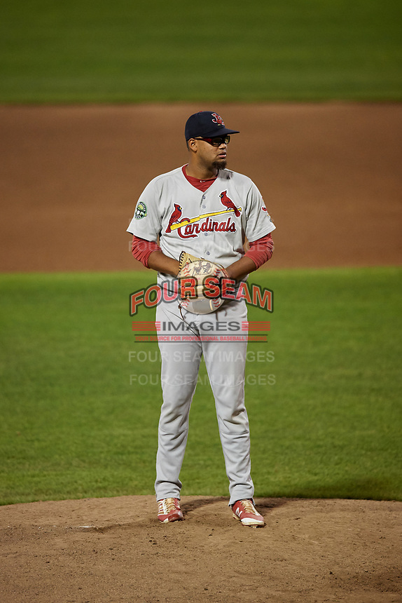 Johnson City Cardinals relief pitcher Juan Alvarez (27) gets ready to deliver a pitch during the second game of a doubleheader against the Princeton Rays on August 17, 2018 at Hunnicutt Field in Princeton, Virginia.  Princeton defeated Johnson City 12-1.  (Mike Janes/Four Seam Images)