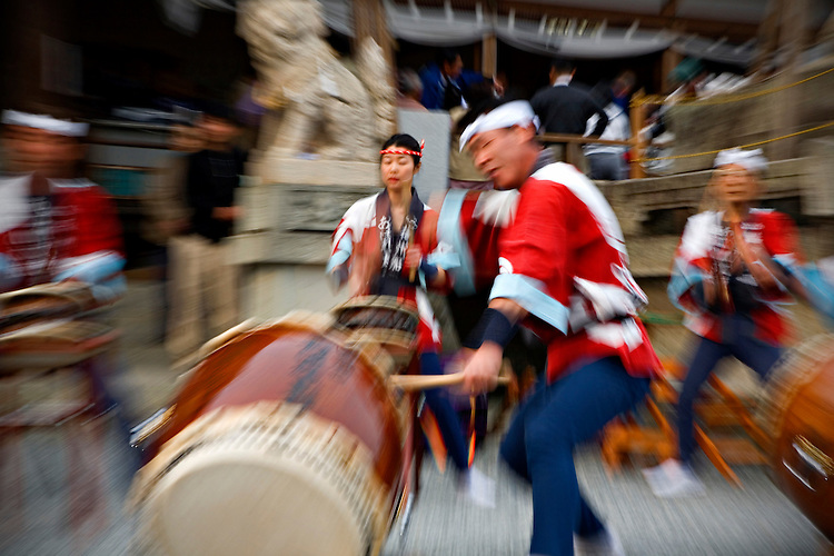 A taiko ensemble performs during the Sekku Matsuri, or Seasonal Festival, in Kasai-City Japan