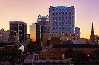 View of downtown Orlando buildings after sunset