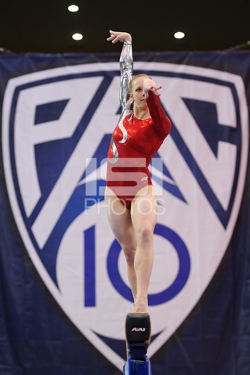 LOS ANGELES, CA - March 19, 2011:  Stanford's Alyssa Brown competes on the balance beam during the Pac-10 Championship at UCLA's Pauley Pavilon.   Stanford placed fourth in the competition.