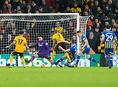 5th February 2019, Molineux Stadium, Wolverhampton, England; FA Cup football, 4th round replay, Wolverhampton Wanderers versus Shrewsbury Town; Ivan Cavaleiro of Wolverhampton Wanderers scoring through the legs of Shrewsbury Town Goalkeeper Steve Arnold to take the lead 3-2 in the 62nd minute