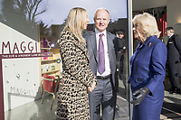 06/02/2020 - Camilla Duchess of Cornwall with Zoe Law and Andrew Law during a visit to Maggies at The Royal Marsden in Sutton, Greater London. Photo Credit: ALPR/AdMedia