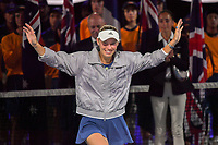 January 27, 2018: Number two seed Caroline Wozniacki of Denmark goes onto the stage to receive her trophy after winning the Women's Final against number one seed Simona Halep of Romania on day thirteen of the 2018 Australian Open Grand Slam tennis tournament in Melbourne, Australia. Photo Sydney Low
