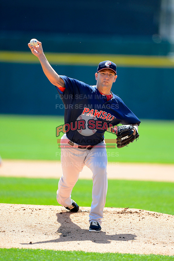 Pawtucket Red Sox pitcher Charlie Haeger #26 during the first game of a doubleheader against the Buffalo Bisons on April 25, 2013 at Coca-Cola Field in Buffalo, New York.  Pawtucket defeated Buffalo 8-3.  (Mike Janes/Four Seam Images)