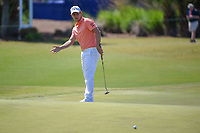 Emiliano Grillo (ARG) watches his putt on 17 during Round 2 of the Zurich Classic of New Orl, TPC Louisiana, Avondale, Louisiana, USA. 4/27/2018.<br /> Picture: Golffile | Ken Murray<br /> <br /> <br /> All photo usage must carry mandatory copyright credit (&copy; Golffile | Ken Murray)