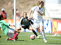 Kristine Lilly tries a back heel shot on goal. .USA 3-0 over Mexico in San Diego, California, Sunday, March 28, 2010.