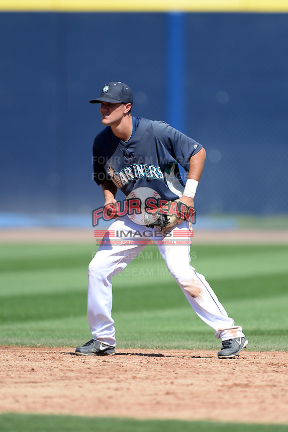 Seattle Mariners shortstop Jack Reinheimer (33) during an Instructional League game on October 4, 2013 at Peoria Stadium in Peoria, Arizona.  (Mike Janes/Four Seam Images)