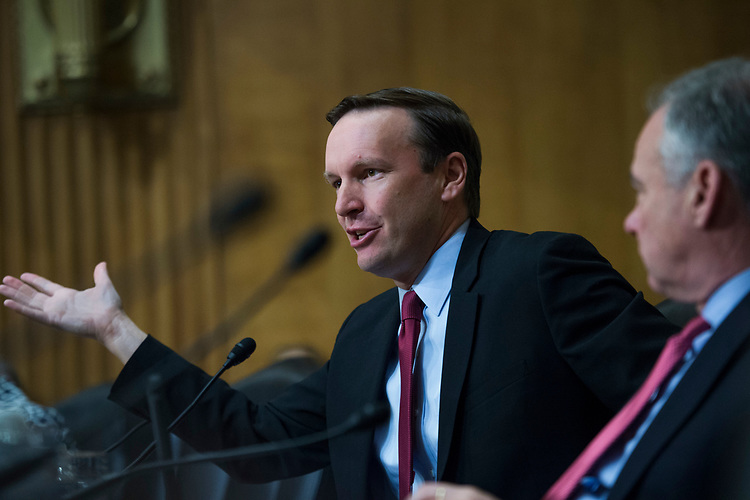 UNITED STATES - AUGUST 01: Sens. Chris Murphy, D-Conn., left, and Tim Kaine, D-Va., attend a Senate Foreign Relations Committee nominations hearing in Dirksen Building on August 1, 2018. R. Clarke Cooper, nominee to be an Assistant Secretary of State (Political- Military Affairs), and John Cotton Richmond, nominee to be director of the Office to Monitor and Combat Trafficking, testified. (Photo By Tom Williams/CQ Roll Call)