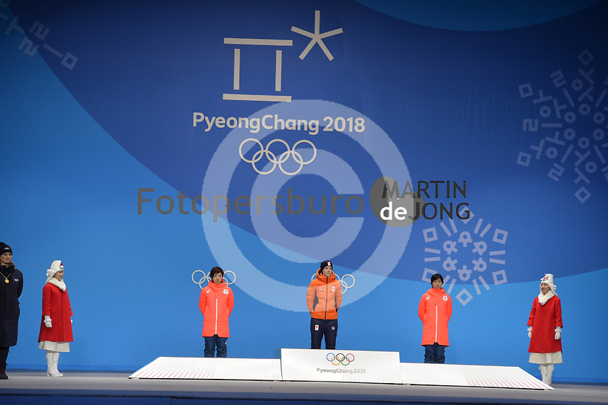OLYMPIC GAMES: PYEONGCHANG: 15-02-2018, Medals Plaza, Victories Ceremony, Podium 1000m Ladies Long Track Speed Skating, Nao Kodaira (JPN), Jorien ter Mors (NED), Miho Takagi (JPN), ©photo Martin de Jong