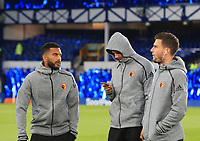 29th October 2019; Goodison Park, Liverpool, Merseyside, England; English Football League Cup, Carabao Cup Football, Everton versus Watford; Watford players inspect the pitch prior to the match - Strictly Editorial Use Only. No use with unauthorized audio, video, data, fixture lists, club/league logos or 'live' services. Online in-match use limited to 120 images, no video emulation. No use in betting, games or single club/league/player publications