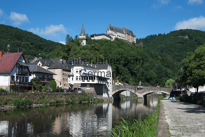 Grand Duchy of Luxembourg, Vianden: Vianden castle overlooking town on River Our