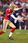 San Francisco 49ers punter Andy Lee (4) punts the ball during an NFC Championship NFL football game against the New York Giants on January 22, 2012 in San Francisco, California. The Giants won 20-17 in overtime. (AP Photo/David Stluka)