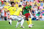 Colombia's Juan Guillermo Cuadrado (l) and Santiago Arias (c) and Cameroon's Jonathan Ngwem during international friendly match. June 13,2017.(ALTERPHOTOS/Acero)