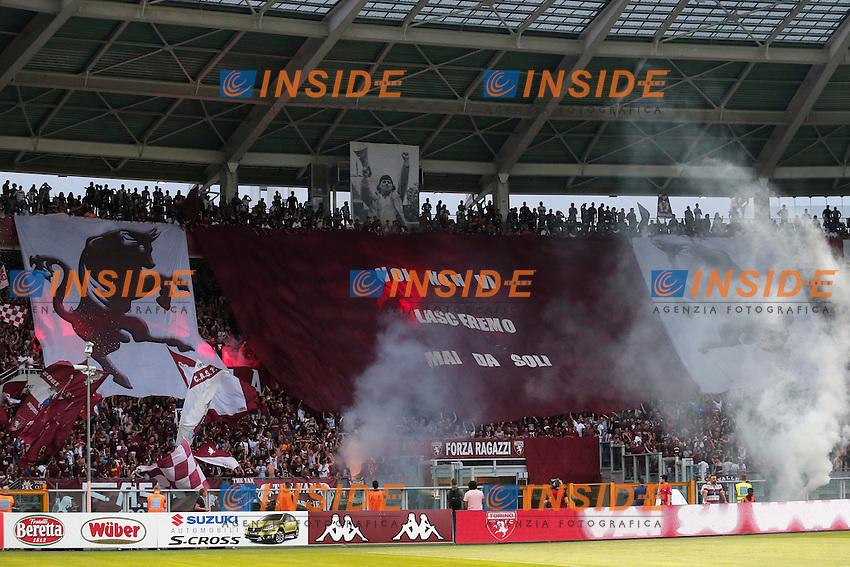 Curva Torino, supporters, Torino 7-8-2014, Stadio Olimpico, Football Calcio 2014/2015 Europa League, Torino - Brommapojkarna, Foto Marco Bertorello/Insidefoto
