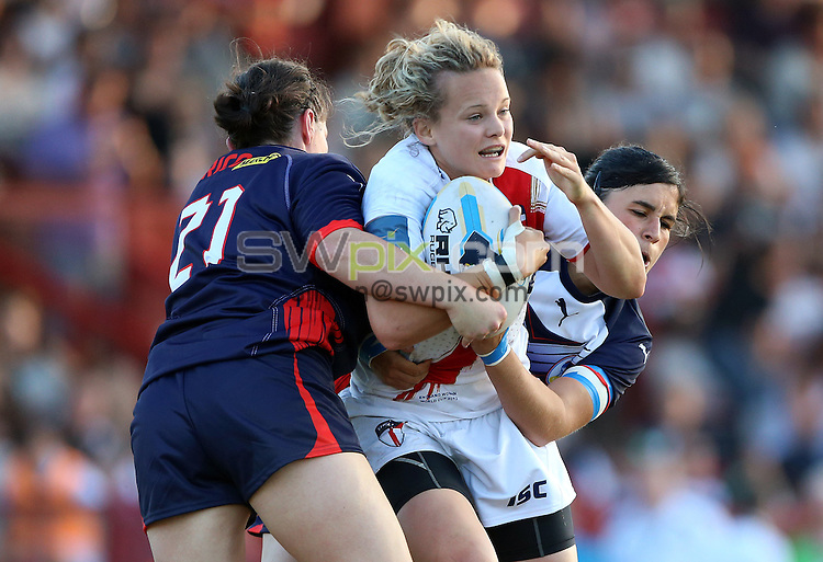 PICTURE BY VAUGHN RIDLEY/SWPIX.COM - Rugby League - Festival of World Cups - England Women vs France Women - Loverugbyleague.com Stadium, Batley, England - 11/07/13 - England's Lois Forsell.