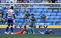 Blackburn Rovers' Christian Walton (centre) secures the ball after making a save.  Reading's Lucas Joao (left) looks on in frustration as Blackburn Rovers Derrick Williams (right) urges the team to defend better  <br /> <br /> Photographer David Horton/CameraSport<br /> <br /> The EFL Sky Bet Championship - Reading v Blackburn Rovers - Saturday 21st September 2019 - Madejski Stadium - Reading<br /> <br /> World Copyright © 2019 CameraSport. All rights reserved. 43 Linden Ave. Countesthorpe. Leicester. England. LE8 5PG - Tel: +44 (0) 116 277 4147 - admin@camerasport.com - www.camerasport.com