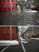 TOP a flooded street during the Huricane Sandy on Oct 30,2012. Mar 03,2015. A man walks by a street in Hoboken on March 03,2015. Kena Betancur/VIEWpress.