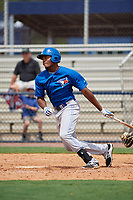 GCL Blue Jays left fielder D.J. Daniels (23) follows through on a swing during the second game of a doubleheader against the GCL Yankees East on July 24, 2017 at the Yankees Minor League Complex in Tampa, Florida.  GCL Yankees East defeated the GCL Blue Jays 6-3.  (Mike Janes/Four Seam Images)
