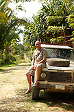 BELIZE, Punta Gorda, Toledo, the owner of the Sun Creek Lodge Bruno Kuppinger sits on his truck