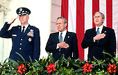 Washington, D.C. - May 30, 2005 -- United States President George W. Bush makes remarks at Arlington National Cemetery for the annual Memorial Day Commoration  on May 30, 2005. The President was at Arlington to honor members of the Armed Forces who died in the line of duty.<br /> Credit: Ron Sachs - Pool via CNP