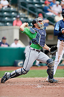 Gwinnett Stripers catcher Rob Brantly (8) throws to second base on a stolen base attempt during a game against the Columbus Clippers on May 17, 2018 at Huntington Park in Columbus, Ohio.  Gwinnett defeated Columbus 6-0.  (Mike Janes/Four Seam Images)