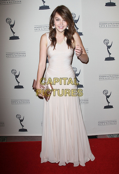 Aimee Teegarden.63rd Primetime Emmy Writers Nominee Reception Held at Leonard H. Goldenson Theatre, North Hollywood, California, USA..September 15th, 2011.full length dress hand  clutch bag pink white beige.CAP/ADM/KB.©Kevan Brooks/AdMedia/Capital Pictures.