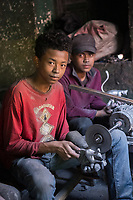 Africa, Madagascar, Ambatolampy village. People working in aluminum foundry. Maybe one of the most dangerous jobs in Madagascar.