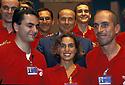 Silvio Berlusconi, President of Forza Italia, poses with some volunteers staff members of Meeting 2000, the annual meeting of Comunione e Liberazione, Catholic association, in Rimini, August 24, 2000. © Carlo Cerchioli