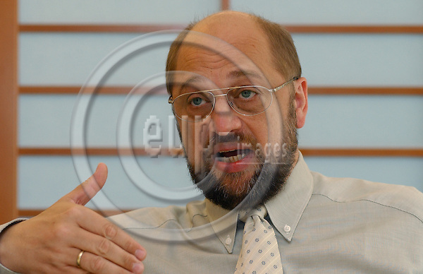 BRUSSELS-BELGIUM - September 19, 2003---Martin SCHULZ, German Member of the European Parliament, Vice-Chairman of the Group of European Socialists in the EP and i.a. Member of the Committee on Citizens' Freedoms and Rights, Justice and Home Affairs; Candidate for the next  Chair of the Group of European Socialists and most likely No. 1 on the list of  the SPD for the coming election (2004) to the EP; during a press briefing in the EP ---Photo: Horst Wagner/eup-images. com