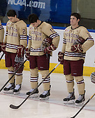 Matthew Gaudreau (BC - 21), Ryan Fitzgerald (BC - 19), Michael Sit (BC - 18) - The Boston College Eagles defeated the University of Denver Pioneers 6-2 in their NCAA Northeast Regional semi-final on Saturday, March 29, 2014, at the DCU Center in Worcester, Massachusetts.