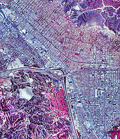 historical infrared aerial photograph of Burbank, California, 1989
