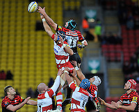Watford, England. Will James of Gloucester Rugby and Steve Borthwick  of Saracen in the line out during the Aviva Premiership match between Saracens and at Gloucester Rugby at Vicarage Road on December 2, 2012 in Watford, England.