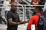 COLLEGE STATION, TX - MARCH 11: Carl Lewis talks to an athlete from the University of Houston during the Division I Men's and Women's Indoor Track & Field Championship held at the Gilliam Indoor Track Stadium on the Texas A&M University campus on March 11, 2017 in College Station, Texas. (Photo by Michael Starghill/NCAA Photos/NCAA Photos via Getty Images)