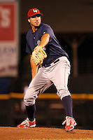 Lehigh Valley IronPigs pitcher Phillippe Aumont #45 delivers a pitch during a game against the Rochester Red Wings at Frontier Field on August 18, 2011 in Rochester, New York.  Lehigh Valley defeated Rochester 11-1.  (Mike Janes/Four Seam Images)