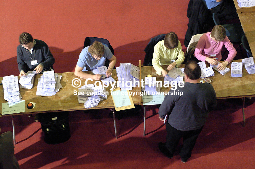June 2001 UK General Election / Local Government  count at the King's Hall, Belfast, N Ireland. Ref: 2001062255..Copyright Image from Victor Patterson, 54 Dorchester Park, Belfast, UK, BT9 6RJ..Tel: +44 28 9066 1296.Mob: +44 7802 353836.Voicemail +44 20 8816 7153.Skype: victorpattersonbelfast.Email: victorpatterson@mac.com.Email: victorpatterson@ireland.com (back-up)..IMPORTANT: If you wish to use this image or any other of my images please go to www.victorpatterson.com and click on the Terms & Conditions. Then contact me by email or phone with the reference number(s) of the image(s) concerned.