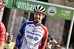 Steve Morabito (SUI) Groupama-FDJ at sign on before the 113th edition of Il Lombardia 2019 running 243km from Bergamo to Como, Italy. 12th Octobre 2019. <br /> Picture: Marco Alpozzi/LaPresse | Cyclefile<br /> <br /> All photos usage must carry mandatory copyright credit (© Cyclefile | LaPresse/Marco Alpozzi)