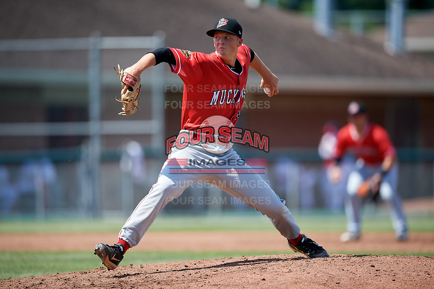 Batavia Muckdogs starting pitcher Dakota Bennett (44) delivers a pitch during a game against the Auburn Doubledays on June 17, 2018 at Falcon Park in Auburn, New York.  Auburn defeated Batavia 10-6.  (Mike Janes/Four Seam Images)
