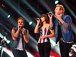 Tom Gossin, Rachel Reinert, and Mike Gossin of Gloriana perform at LP Field during Day 2 of the 2013 CMA Music Festival in Nashville, Tennessee.
