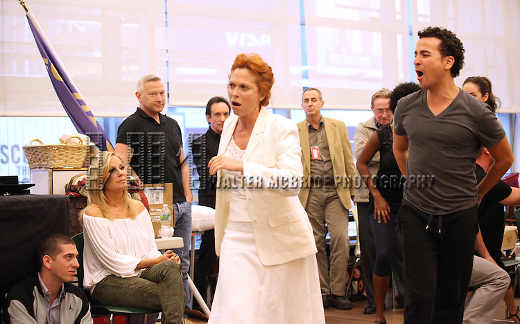 Playwright/Lyricist Kathie Lee Gifford, Actress Carolee Carmello and ensemble cast performing at the rehearsal presentation for 'Scandalous The Musical' at the New 42nd Street Studios on Monday, Sept. 24, 2012 in New York.