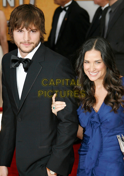 ASHTON KUTCHER & DEMI MOORE.Red Carpet Arrivals - 13th Annual Screen Actors Guild (SAG) Awards, held at the Shrine Auditorium, Los Angeles, California, USA, 28 January 2007..half length Blue dress couple married husband wife beard bow tie.CAP/ADM/RE.©Russ Elliot/AdMedia/Capital Pictures.