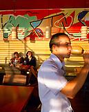 AUSTRIA, Neusiedl Am See, owner Bernd Karolyi at the Mole West Cafe and Bar Restaurant, Burgenland