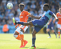 Blackpool's Armand Gnanduillet looks on as Wycombe Wanderers' Anthony Stewart clears the ball<br /> <br /> Photographer Kevin Barnes/CameraSport<br /> <br /> The EFL Sky Bet League One - Wycombe Wanderers v Blackpool - Saturday 4th August 2018 - Adams Park - Wycombe<br /> <br /> World Copyright &copy; 2018 CameraSport. All rights reserved. 43 Linden Ave. Countesthorpe. Leicester. England. LE8 5PG - Tel: +44 (0) 116 277 4147 - admin@camerasport.com - www.camerasport.com