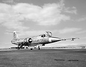 "1961 photo of an F-104.  Known as ""the missile with a man in it,"" the stubby-winged Lockheed F-104 Starfighter was the first U.S. jet fighter in service to fly Mach 2, twice the speed of sound. Designed as a high-performance day fighter, the F-104 had excellent acceleration and top speed. It first flew on February 7, 1954.   While built for the United States Air Force, most Starfighters were flown by other countries, particularly Canada, Italy, Germany, and Japan. Many were built under license overseas.  The National Aeronautics and Space Administration (NASA) flew this F-104A for 19 years as a flying test bed and a chase plane. It was used to test the reaction controls later used on the North American X-15..Credit: U.S. Air Force via CNP"