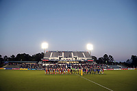 Cary, North Carolina  - Saturday September 09, 2017: Starting lineups prior to a regular season National Women's Soccer League (NWSL) match between the North Carolina Courage and the Houston Dash at Sahlen's Stadium at WakeMed Soccer Park. The Courage won the game 1-0.