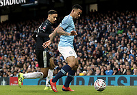 Manchester City's Gabriel Jesus shields the ball from Burnley's Dwight McNeil<br /> <br /> Photographer Rich Linley/CameraSport<br /> <br /> Emirates FA Cup Fourth Round - Manchester City v Burnley - Saturday 26th January 2019 - The Etihad - Manchester<br />  <br /> World Copyright © 2019 CameraSport. All rights reserved. 43 Linden Ave. Countesthorpe. Leicester. England. LE8 5PG - Tel: +44 (0) 116 277 4147 - admin@camerasport.com - www.camerasport.com